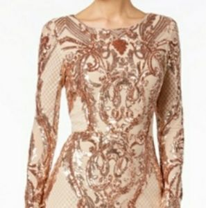 Betsy & Adam Rose Gold Sequin Long Evening Gown 8